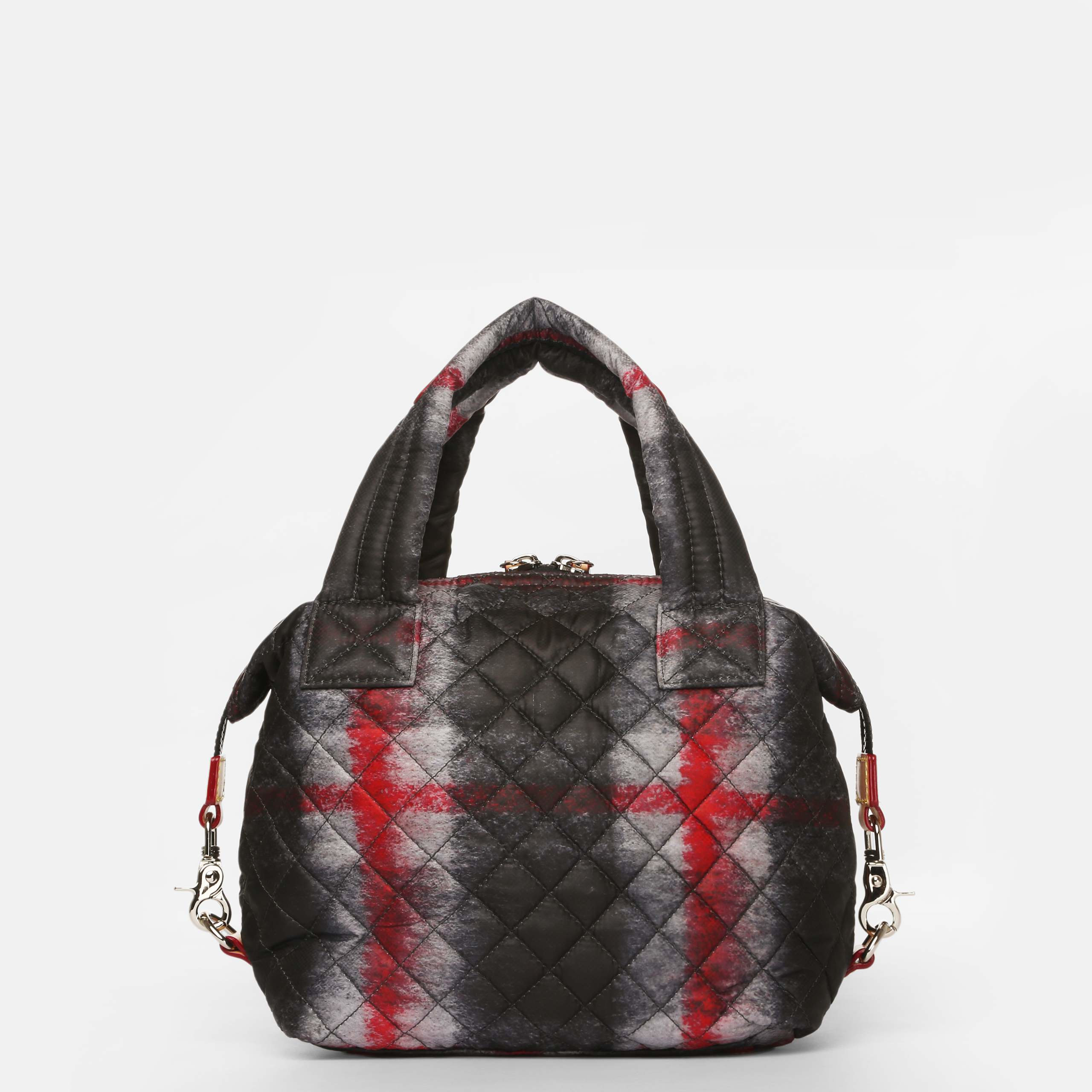 Mz Wallace Metro Medium Plaid Quilted Nylon Tote In Red Lyst