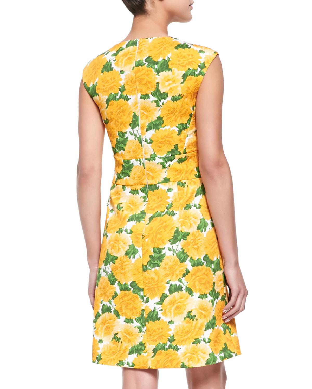 Michael kors Sleeveless Daffodil print V neck Dress