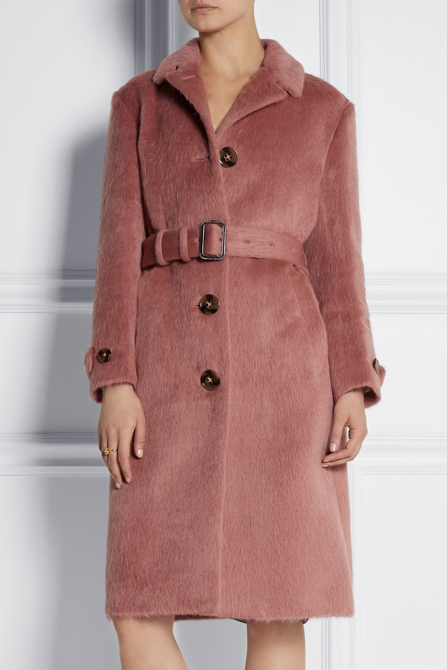 Burberry prorsum Brushed-Wool Coat in Pink | Lyst