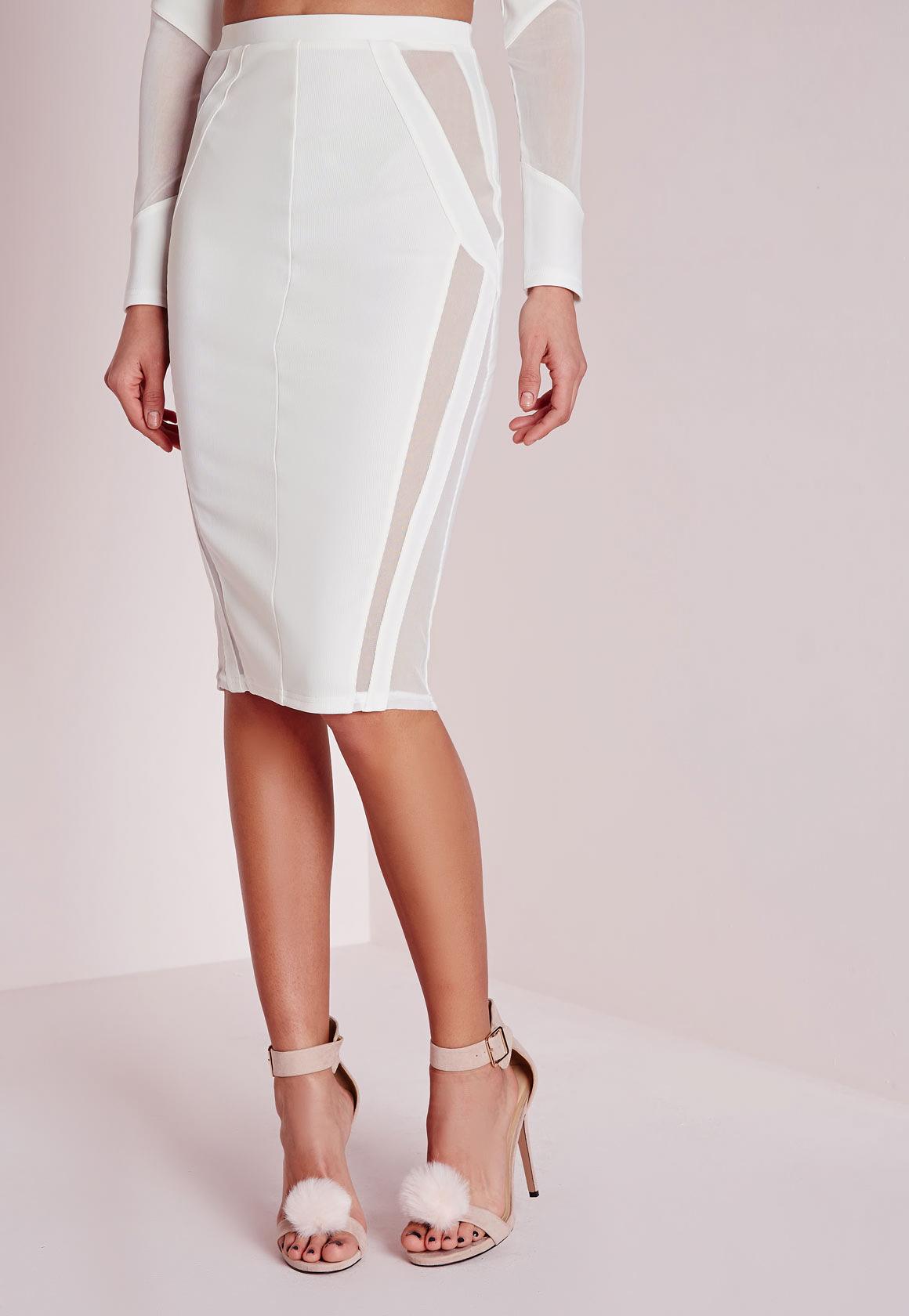 missguided mesh panel midi skirt white in white lyst