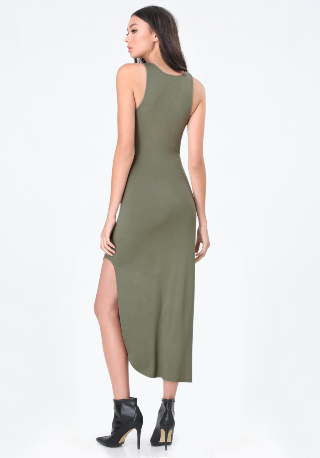 Bebe pleat detail maxi dress in green lyst gallery ombrellifo Images