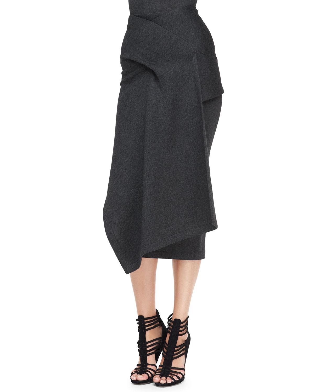 5654f5d2a5 Donna Karan Draped Jersey Midi Skirt in Gray - Lyst