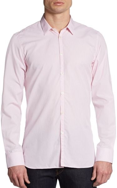 Calvin Klein Pastel Striped Dress Shirt In Pink For Men Lyst