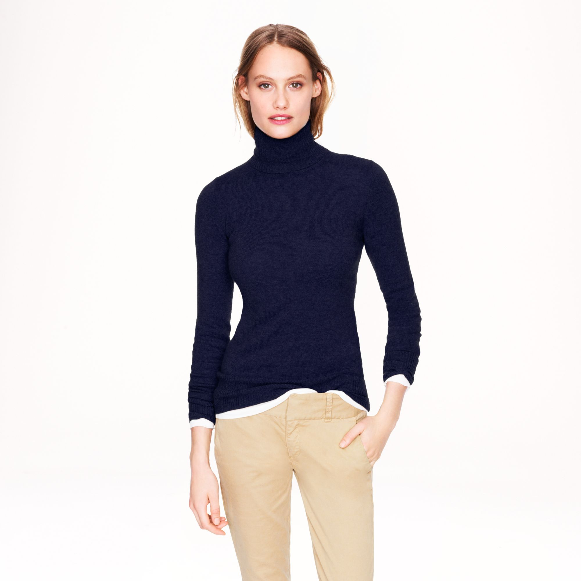 J.crew Collection Cashmere Turtleneck Sweater in Blue | Lyst