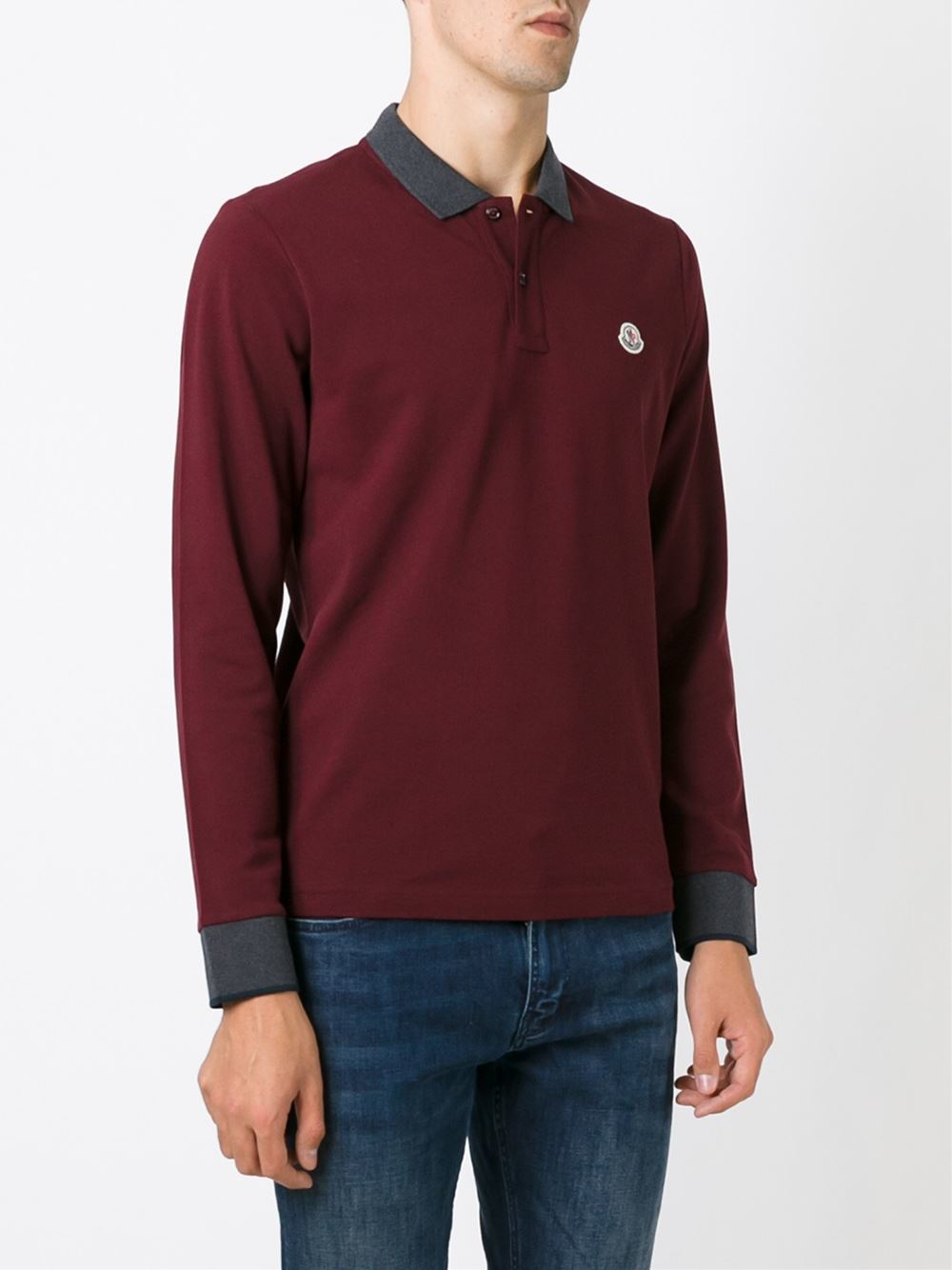 Moncler Long Sleeve Polo Shirt In Red For Men Lyst