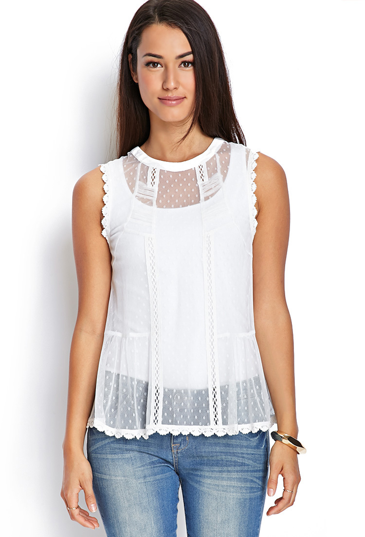 Forever 21 Contemporary High-neck Sheer Lace Top In