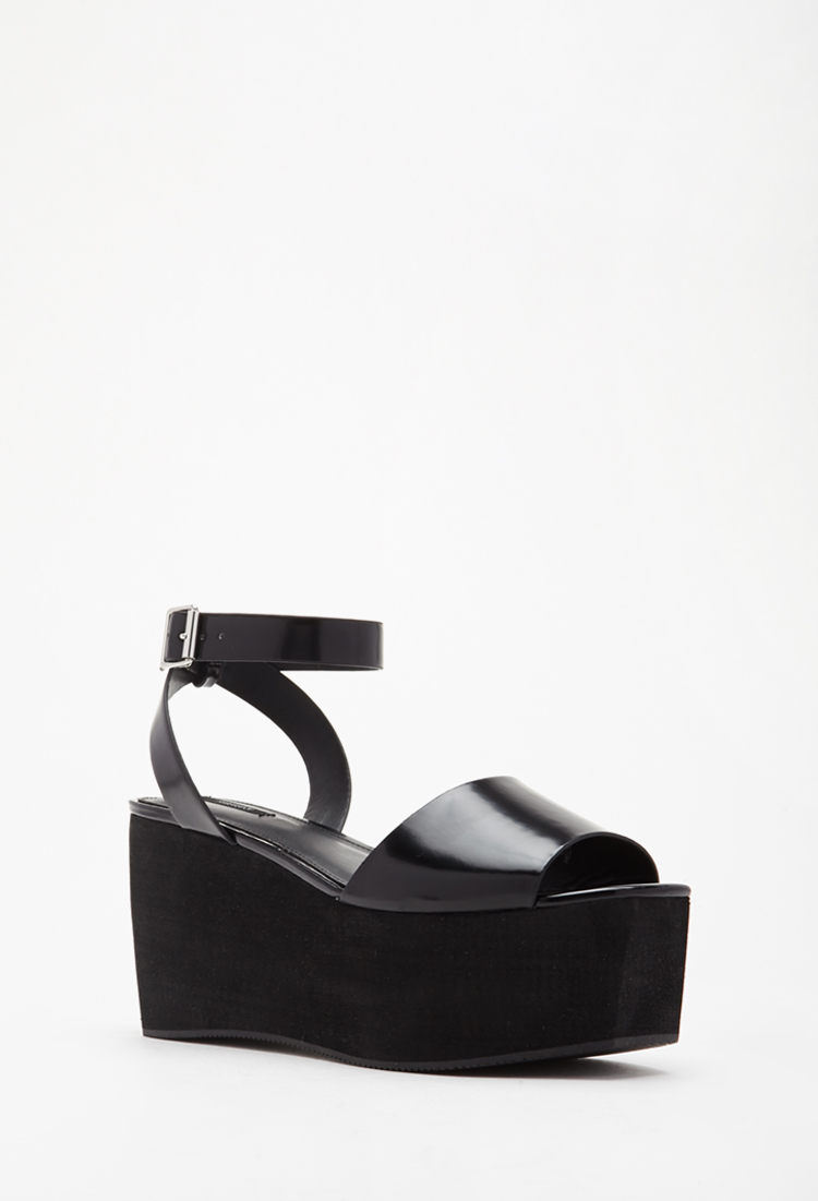 8d2ad480b83 Lyst - Forever 21 Faux Leather Flatform Sandals in Black