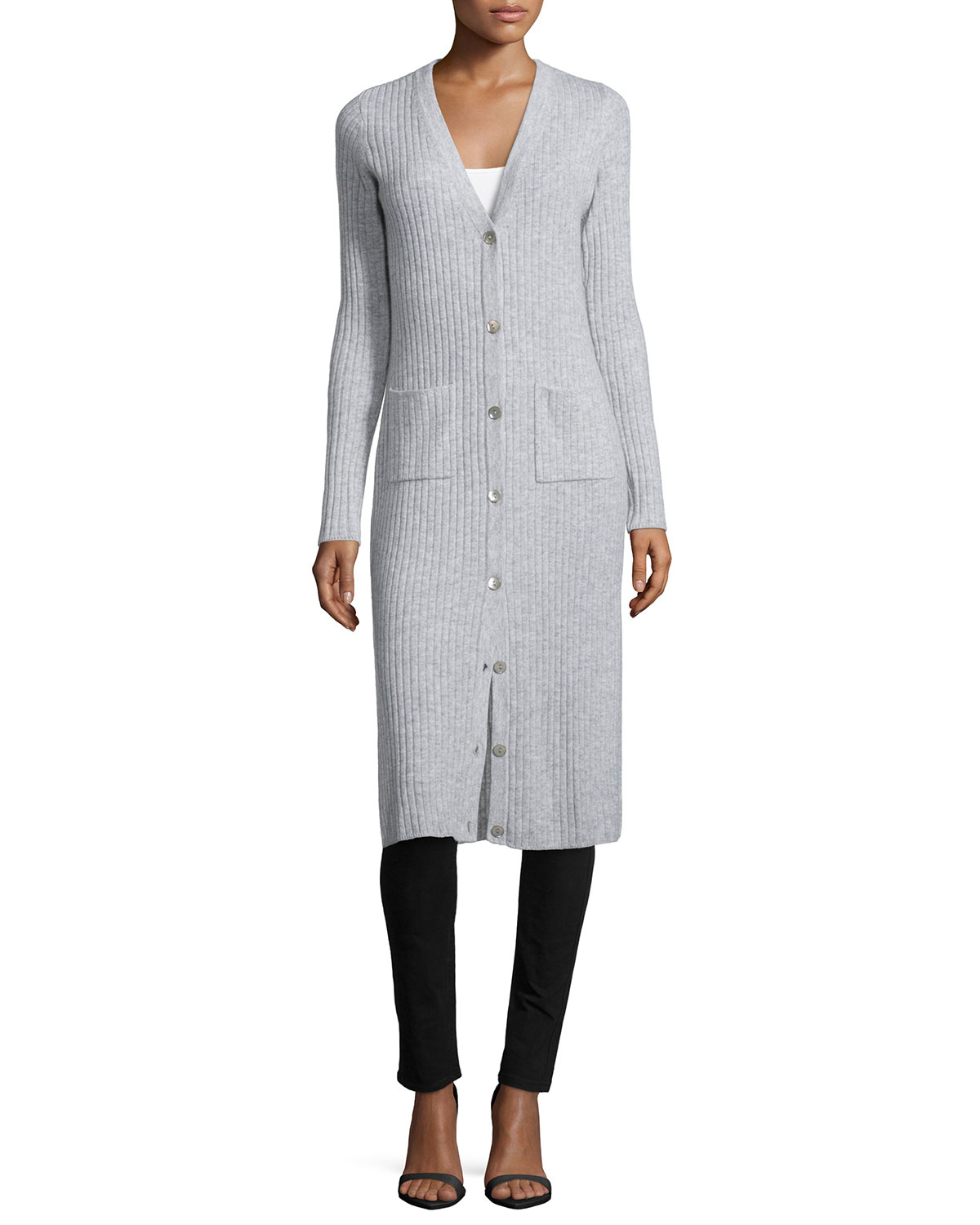 Autumn cashmere Cashmere Long-sleeve Ribbed Maxi Cardigan in Gray ...