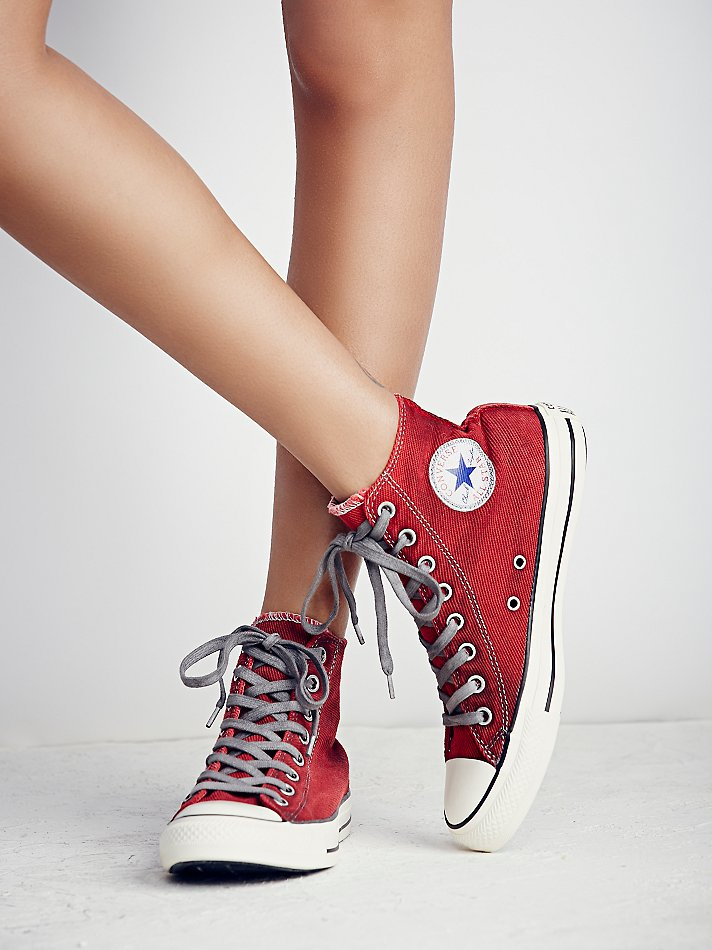 Lyst Free People Converse Womens Overdyed Wash High Top Chucks In Red