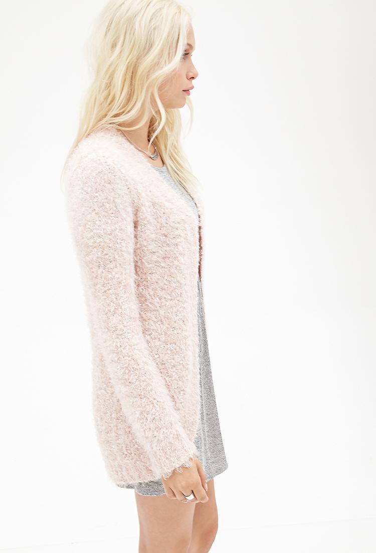 Lyst Forever 21 Fuzzy Eyelash Knit Cardigan In Pink