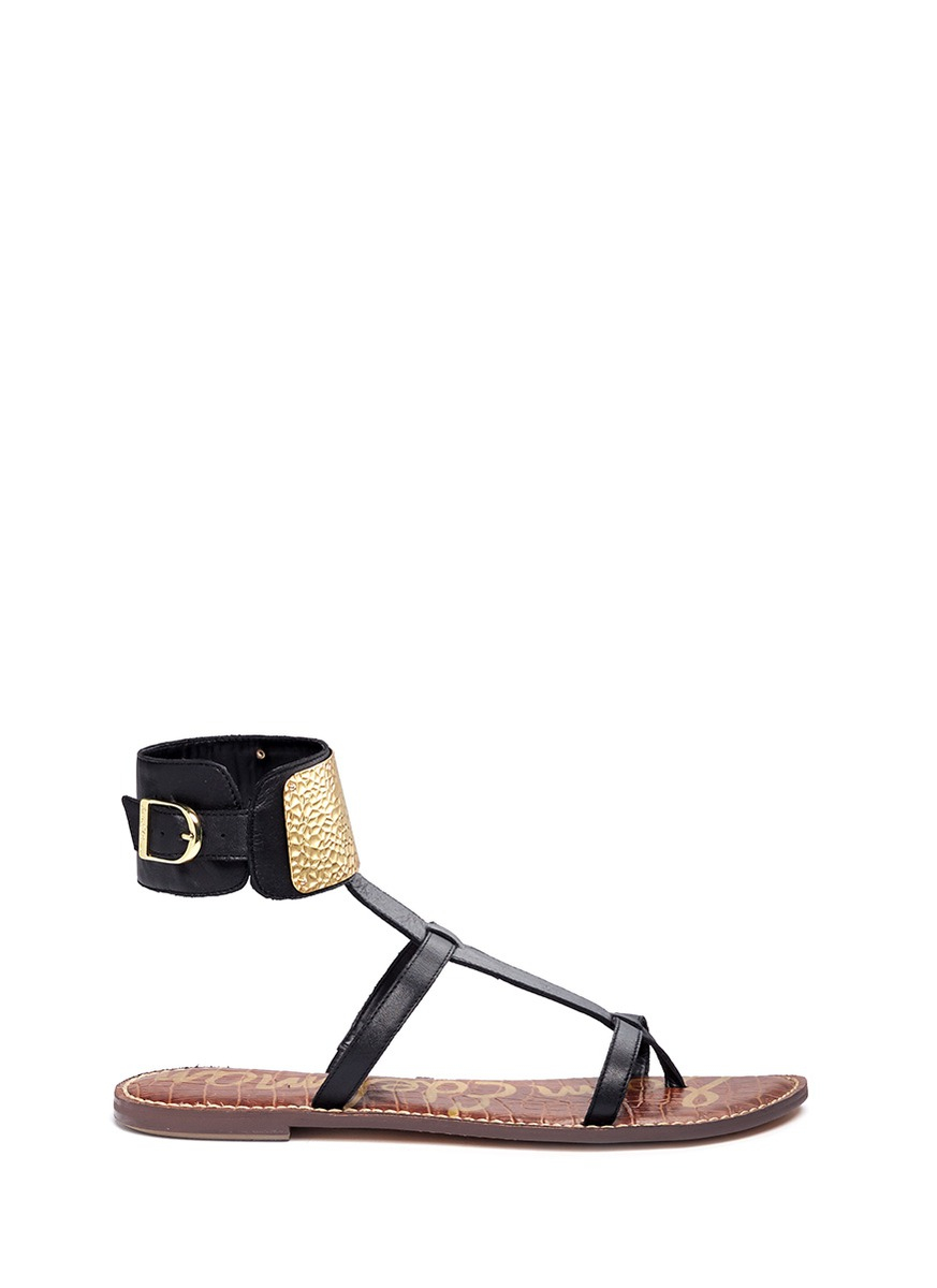 22773bfabe99 Lyst - Sam Edelman Genette Metal Ankle Cuff Leather Sandals in Black