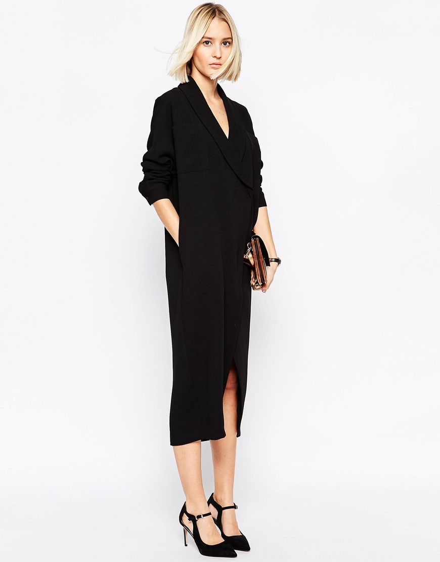 Lyst Asos Wrap Midi Shirt Dress In Black