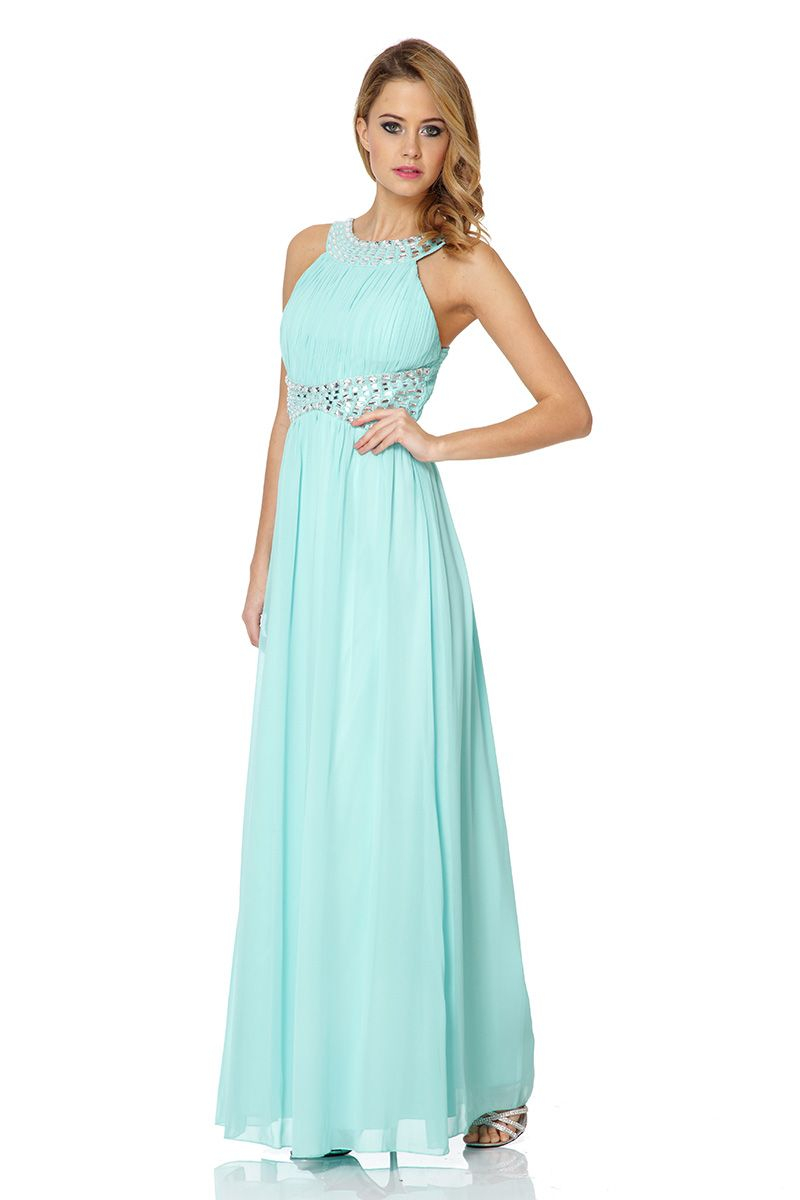 Quiz Chiffon Beaded Maxi Dress in Green - Lyst
