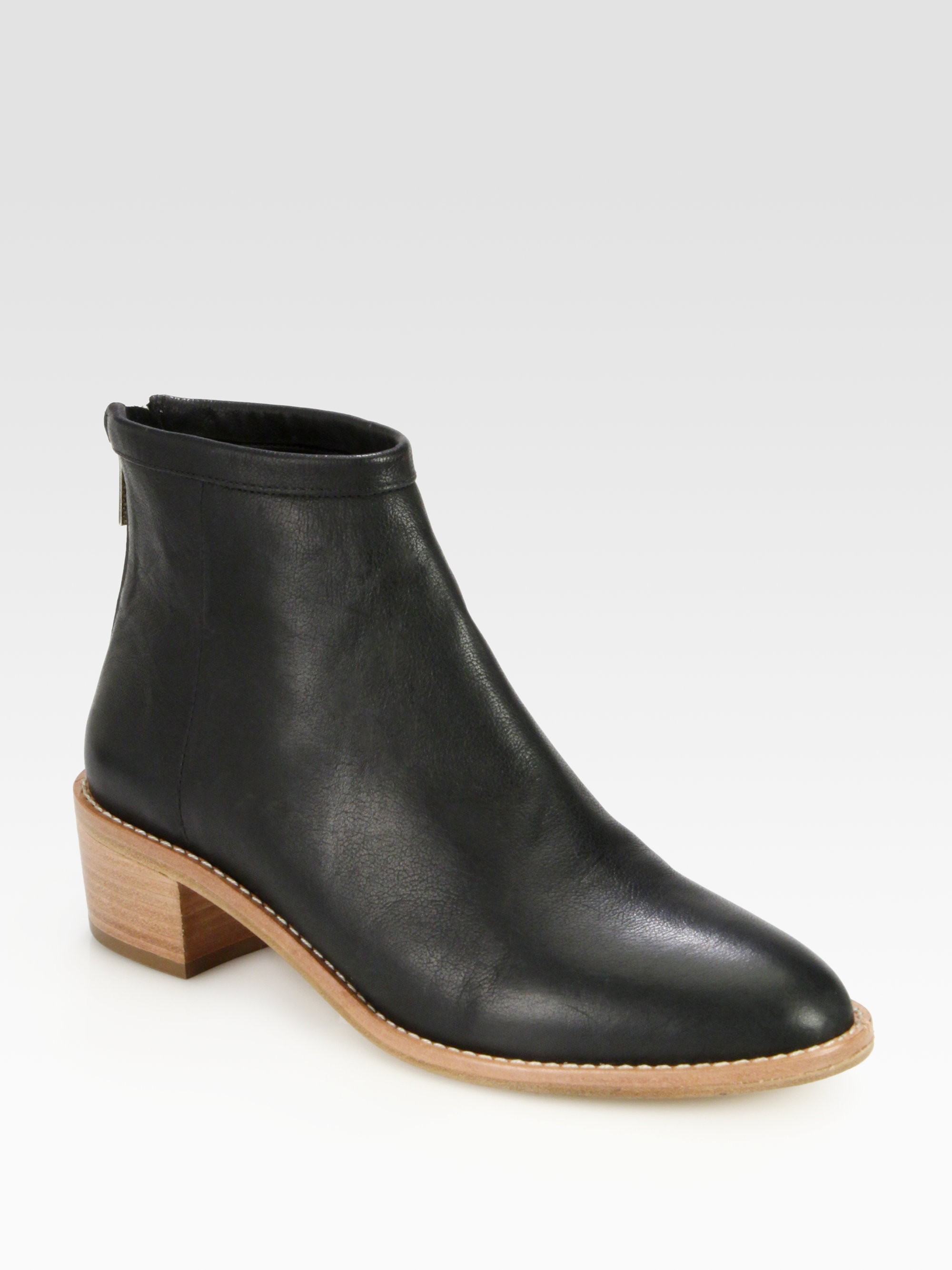 80d6d3325be8 Lyst - Loeffler Randall Felix Leather Ankle Boots in Black