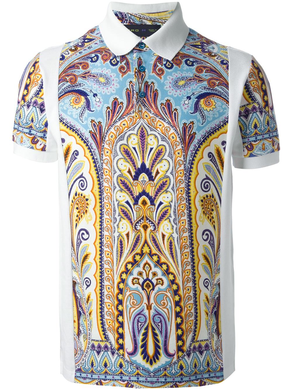 Etro largepaisleyprint sport shirt in white for men lyst for Etro men s shirts