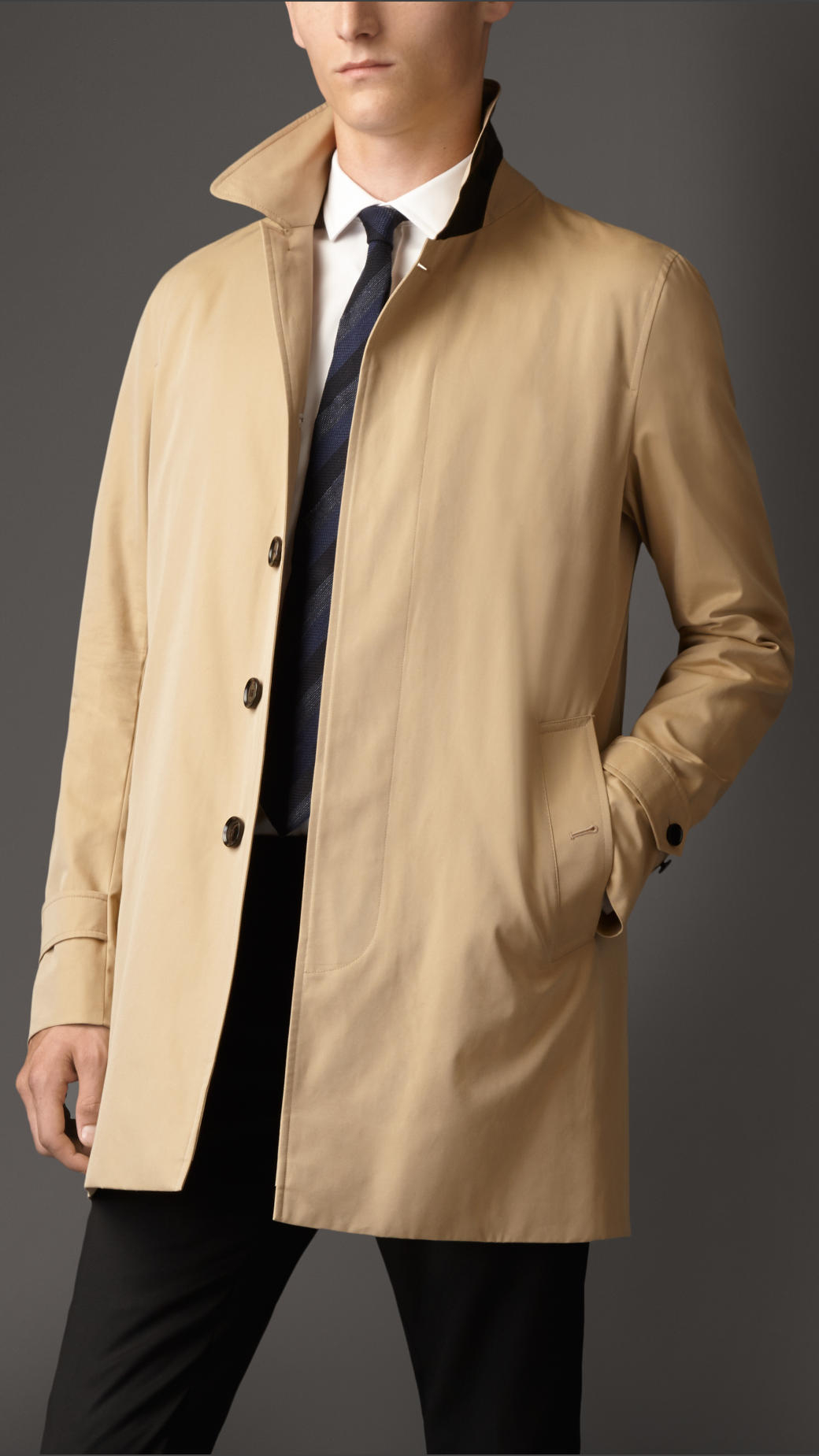 Burberry Cotton Gabardine Car Coat in Natural for Men | Lyst