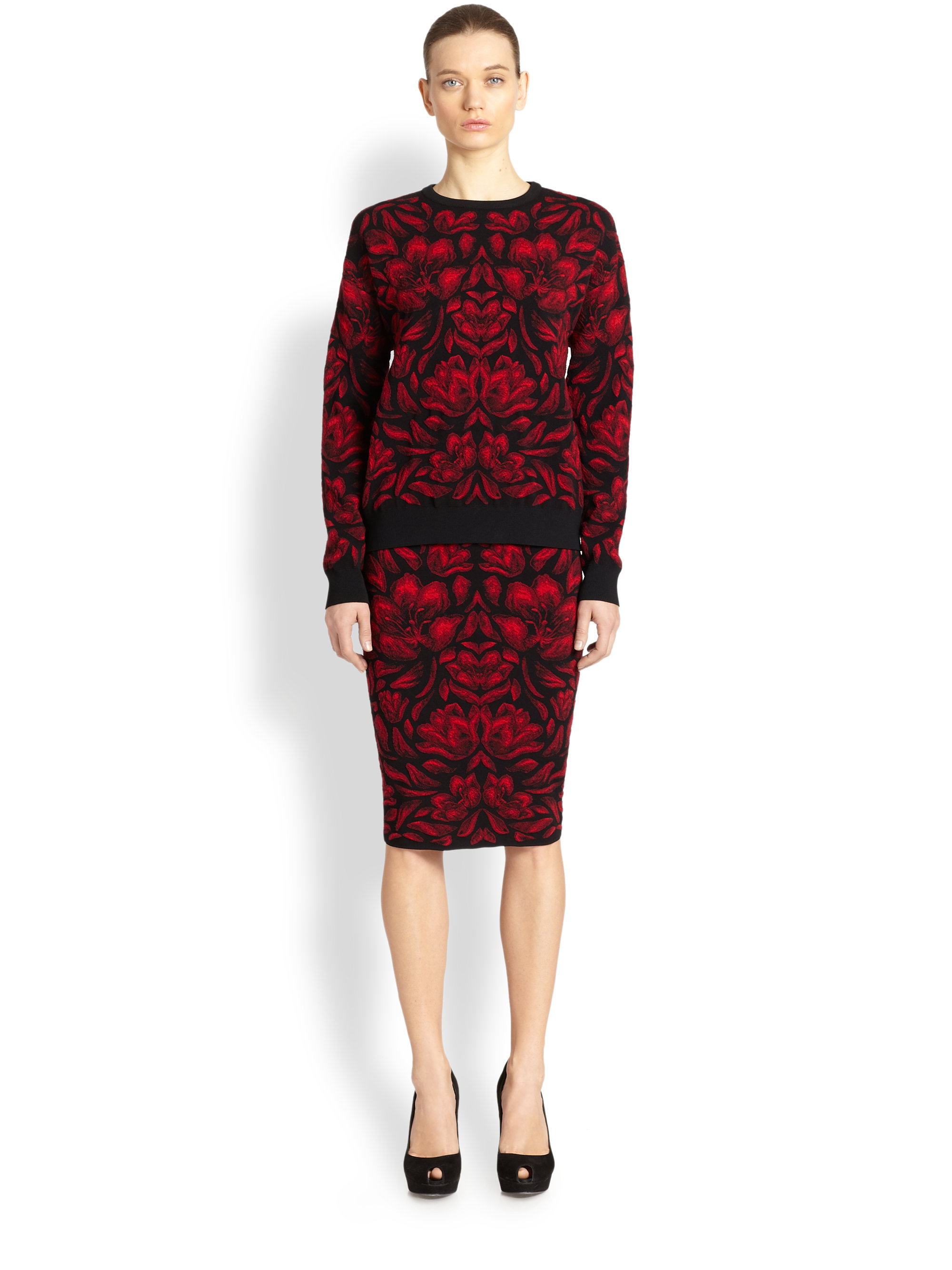 Alexander mcqueen Floral Knit Pencil Skirt in Red | Lyst