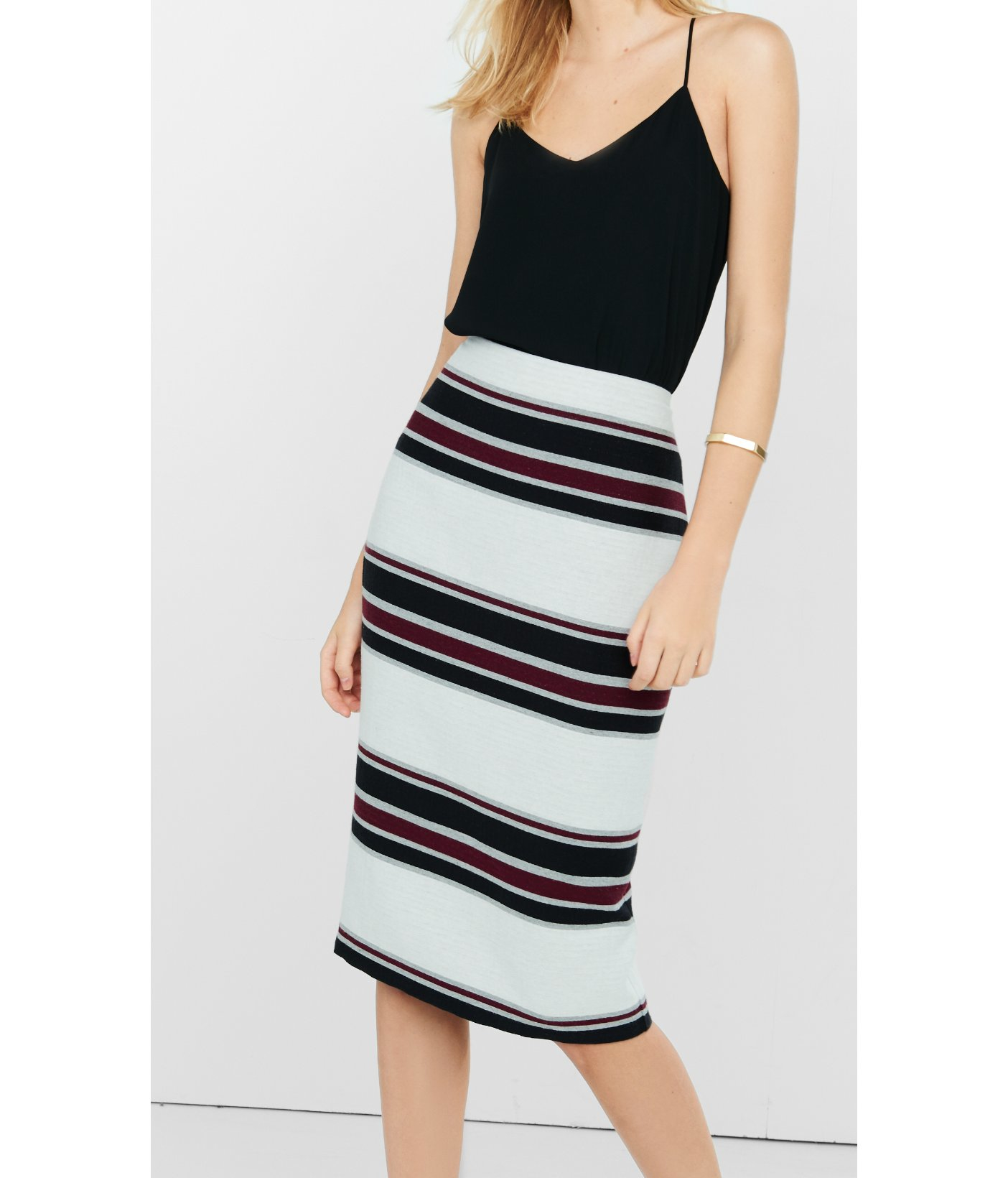 express striped high waisted midi pencil skirt in white lyst