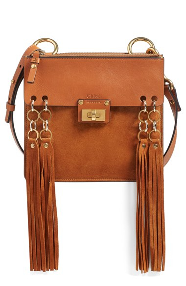 Chlo�� \u0026#39;small Jane\u0026#39; Tassel Suede \u0026amp; Leather Crossbody Bag in Brown ...