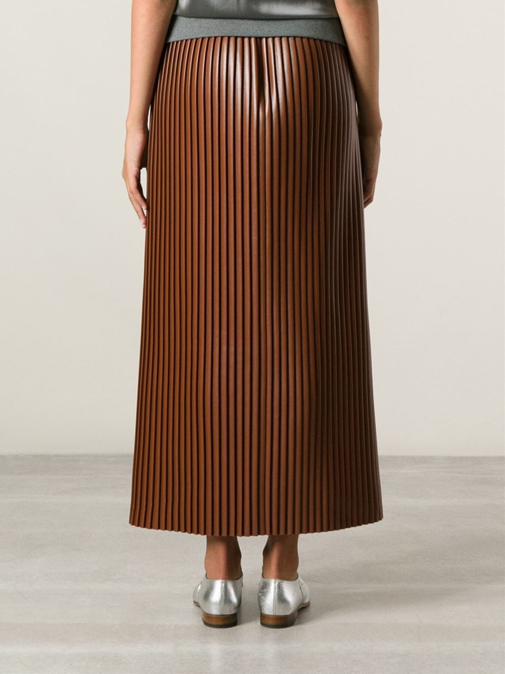 Msgm Long Pleated Skirt in Brown | Lyst