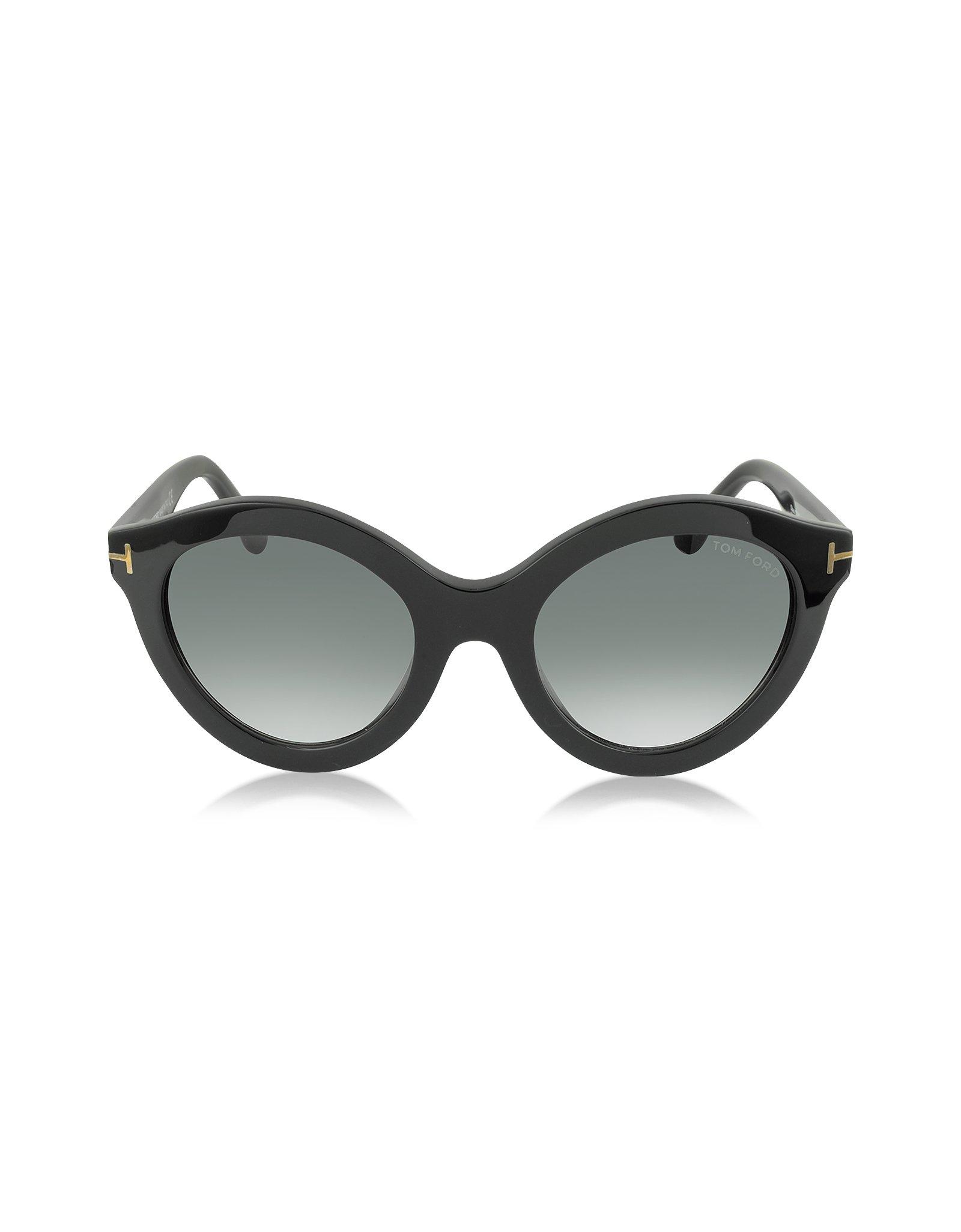 0bcaf1a02e6b Lyst - Tom Ford Chiara Ft0359 01b Black Round Sunglasses in Black
