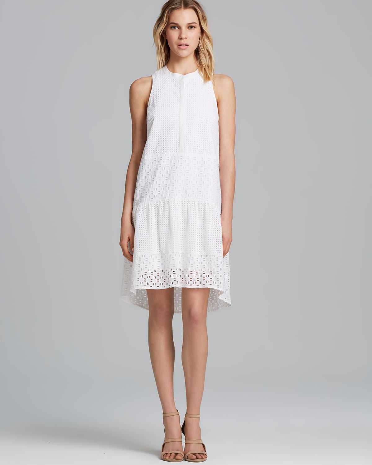 Awesome Kay Unger Cotton Eyelet Dress In White  Lyst