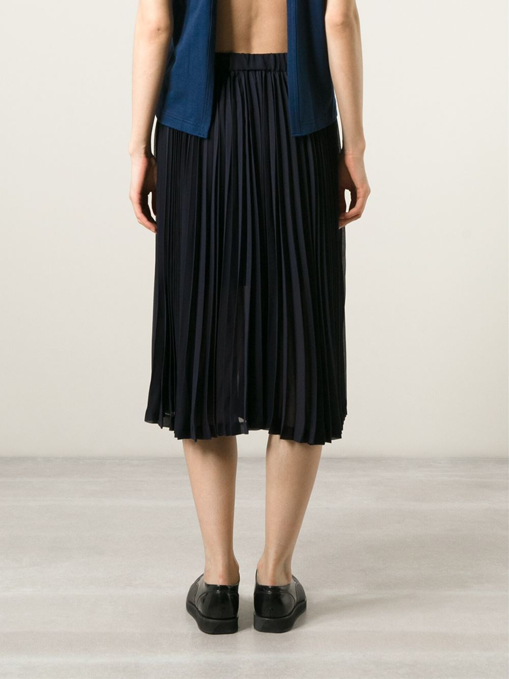 comme des gar 231 ons sheer pleated skirt in blue lyst