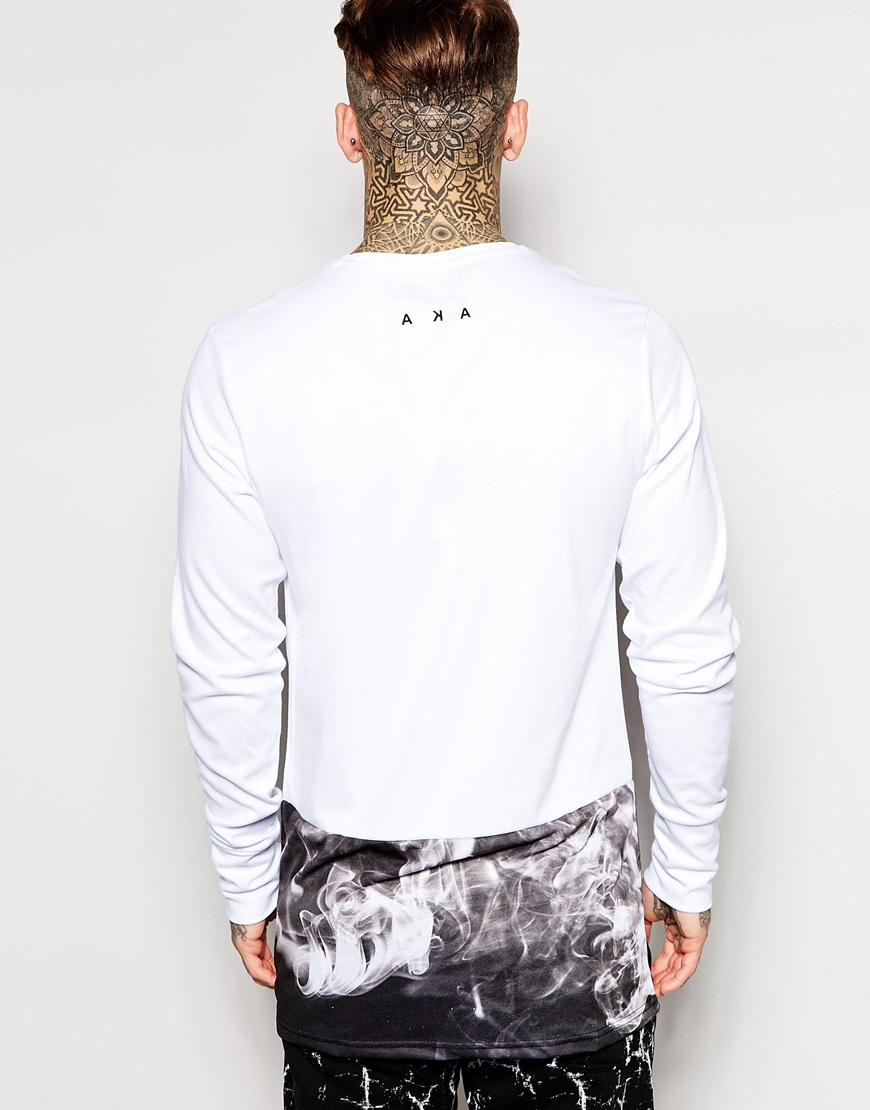 Lyst - Aka Longline Long Sleeve T-shirt With Thumb Holes Exclusive ...