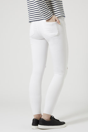 Topshop Moto White Ripped Leigh Jeans in White | Lyst