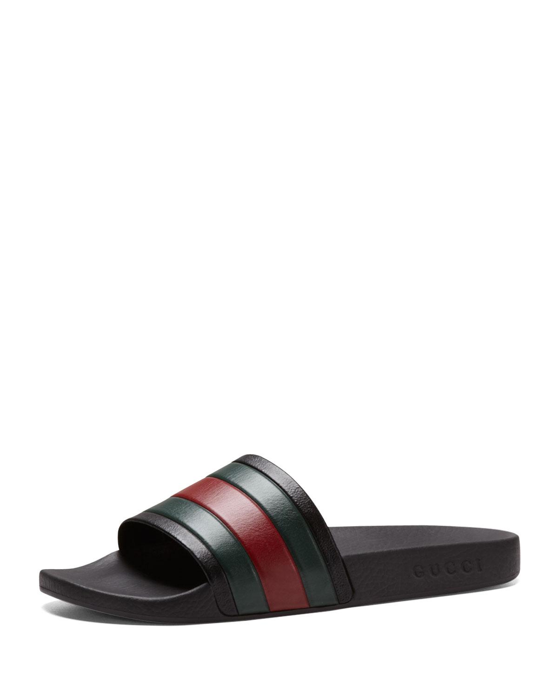 7391c52e9db Lyst - Gucci Pursuit  72 Rubber Slide Sandal in Black for Men