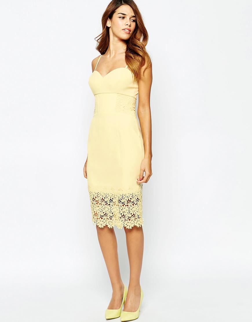 c244e73a5e Lyst - Lipsy Michelle Keegan Loves Lace Detail Cami Pencil Dress in ...