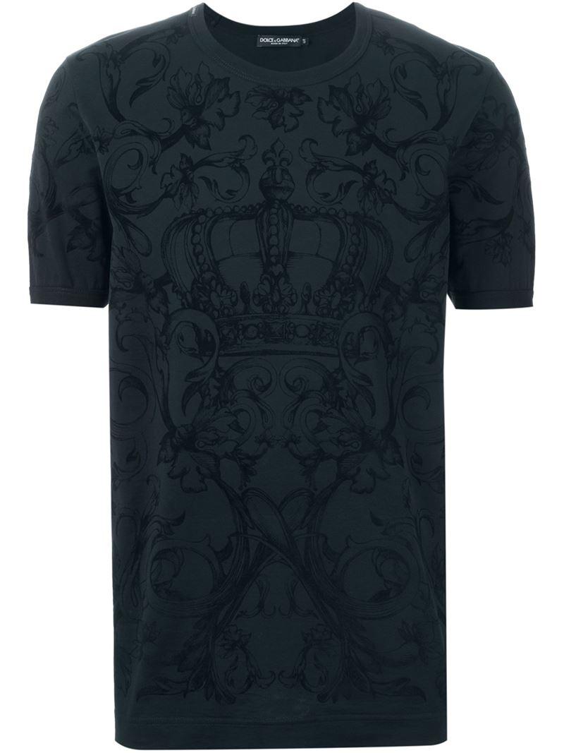 dolce gabbana crown print t shirt in blue for men lyst. Black Bedroom Furniture Sets. Home Design Ideas