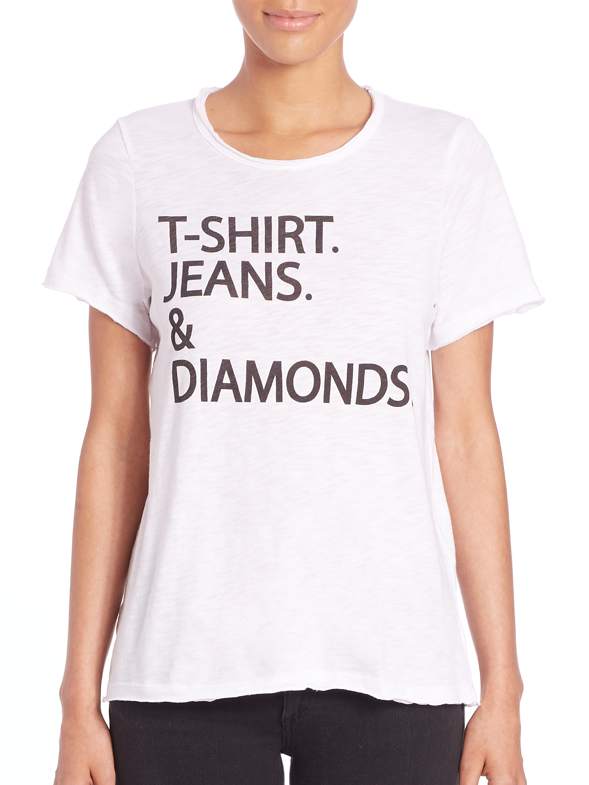 Chaser T-shirt. Jeans. u0026 Diamonds.u0026quot; Short-sleeve Tee in White | Lyst