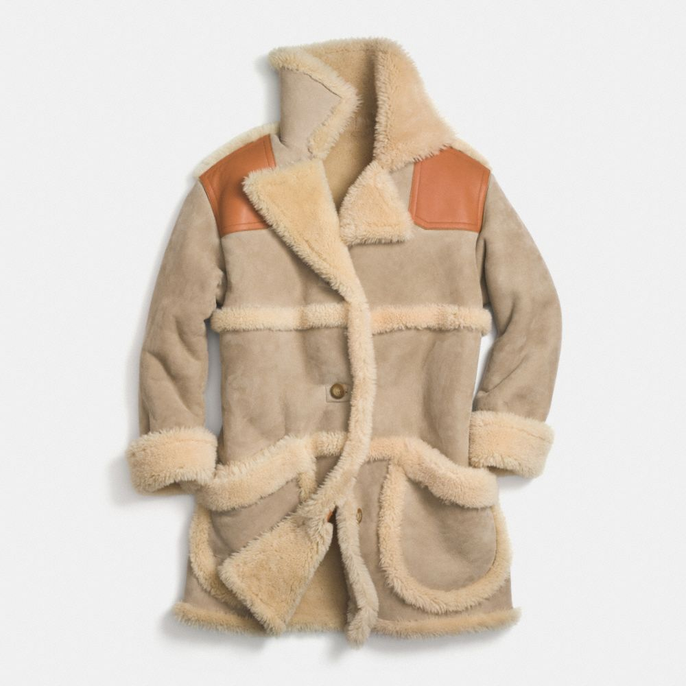 Coach Shearling Coat in Natural | Lyst