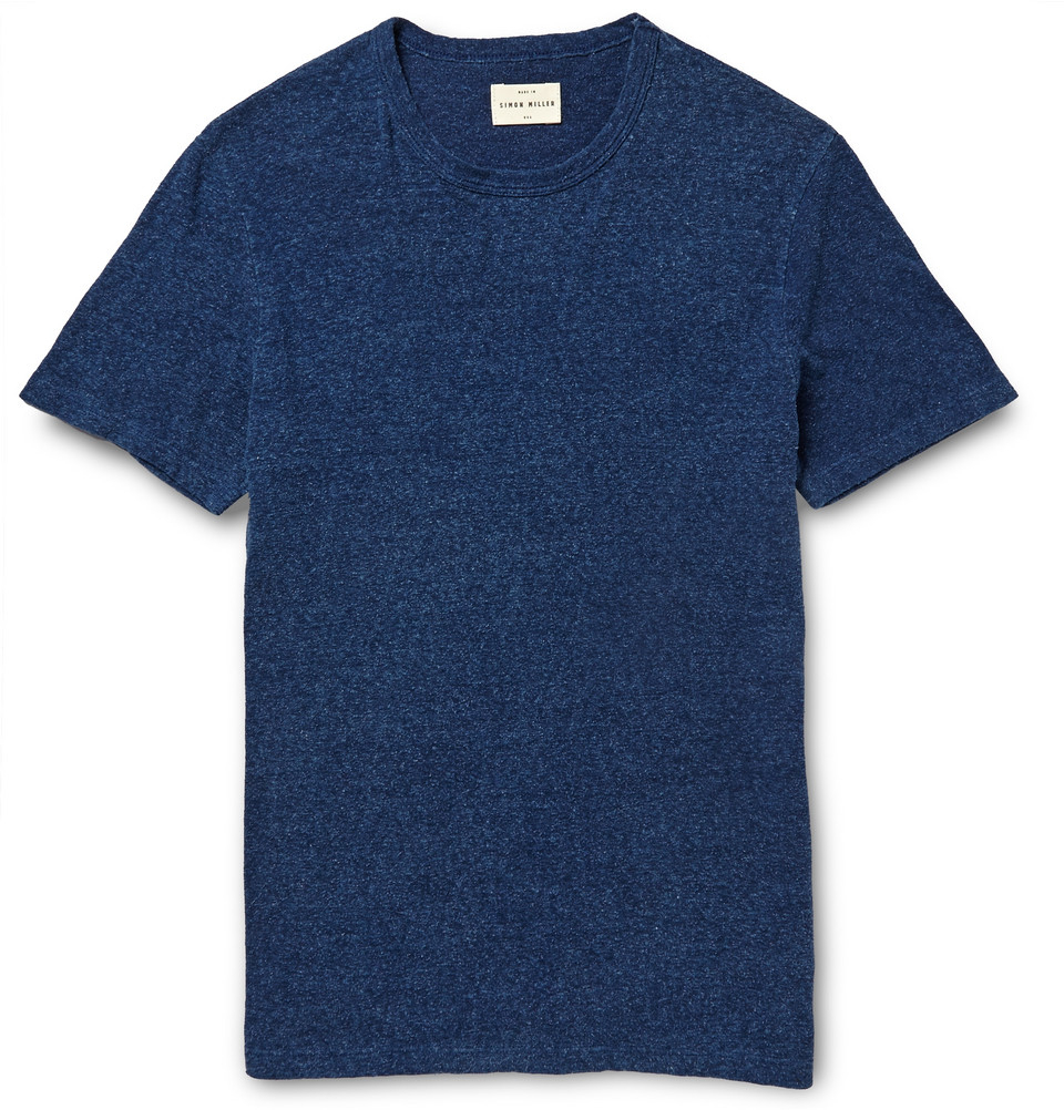 Lyst simon miller cotton and silk blend t shirt in blue for Cotton silk tee shirts