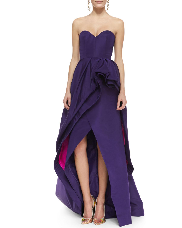 Lyst - Oscar De La Renta Strapless Tiered Bustle High-Low Gown in Purple