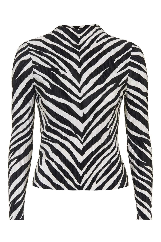 7026210bba00b5 TOPSHOP Zebra Crinkle Top in Black - Lyst