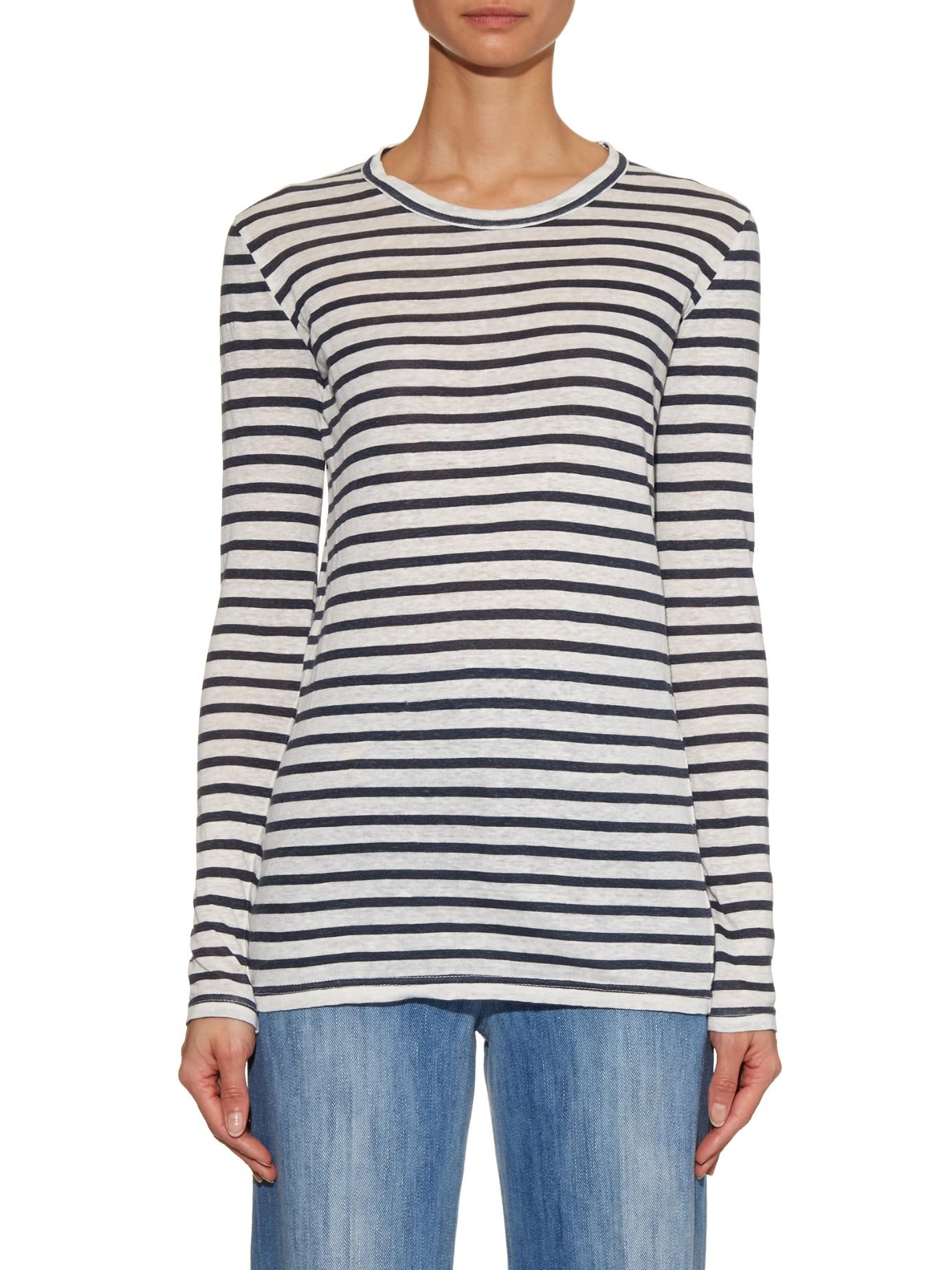 99282318bed13 Étoile Isabel Marant Karon Striped Linen-jersey T-shirt in Black - Lyst