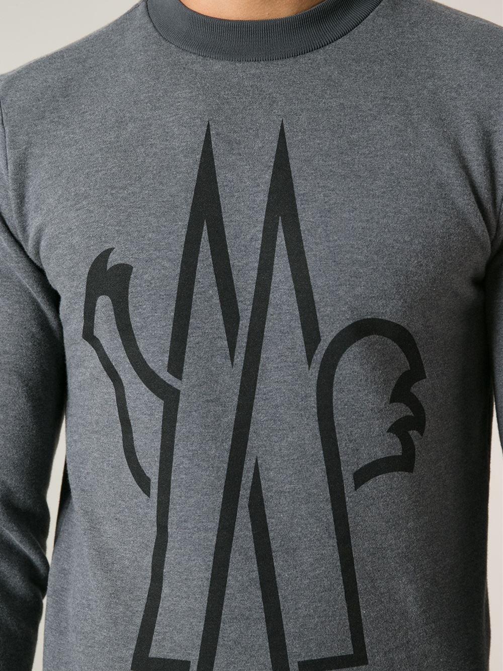 7c0604871c12 Moncler Grenoble Logo Sweatshirt in Gray for Men - Lyst