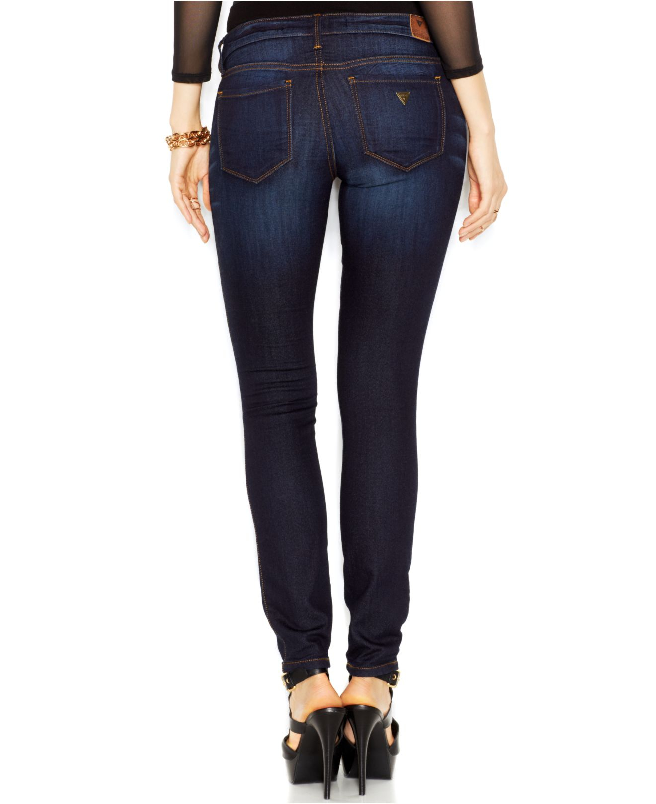 Dark In Wash Rise Low Jeans Blue Skinny Denk Lyst Guess PYaUAA