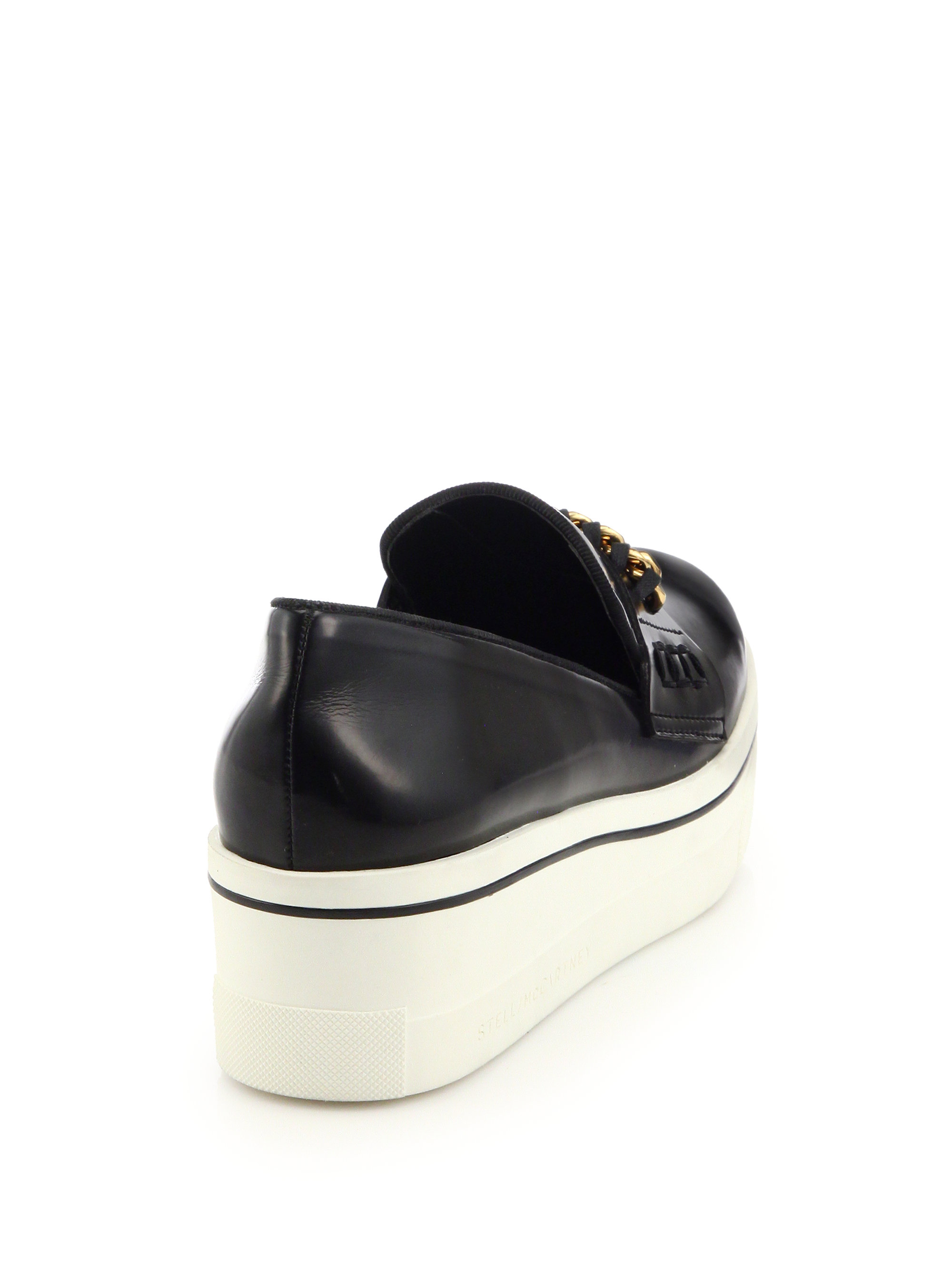 Stella Mccartney Chain Trimmed Rubber Platform Loafers In