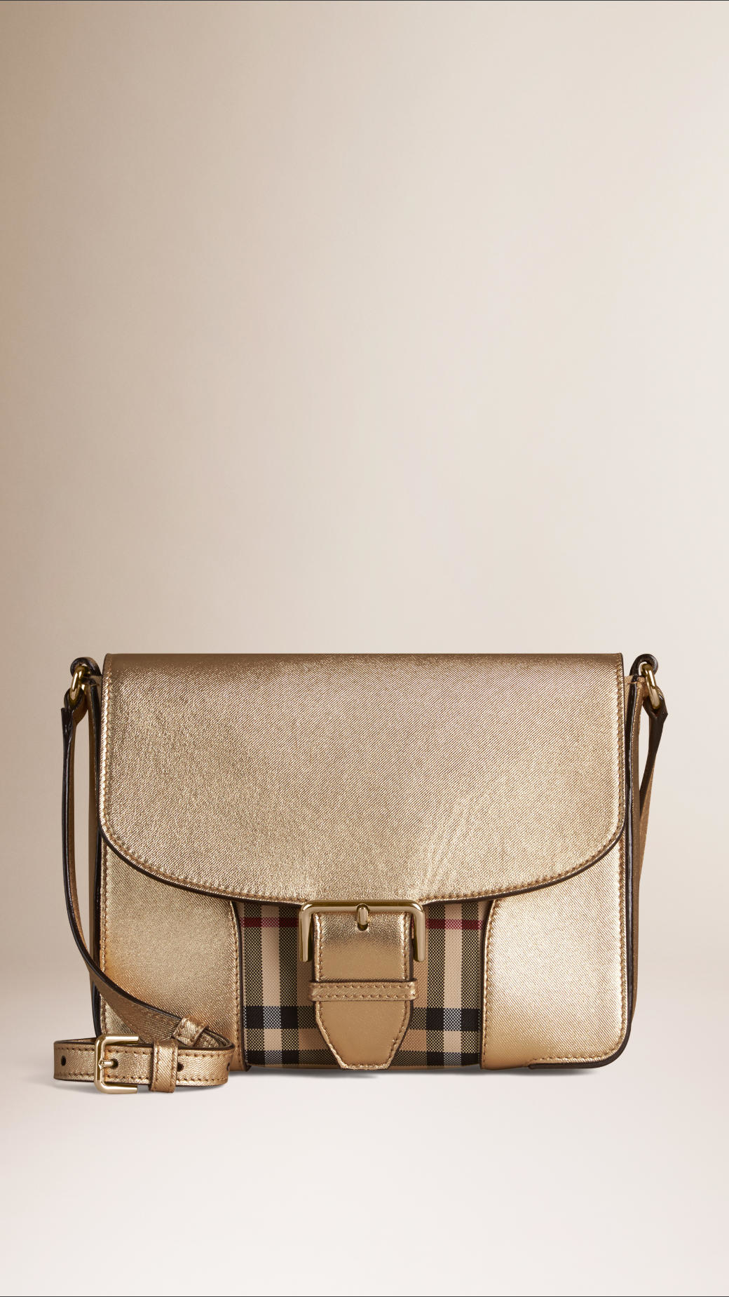 570f724ce5c8 Lyst - Burberry Small Horseferry Check And Leather Crossbody Bag in Natural