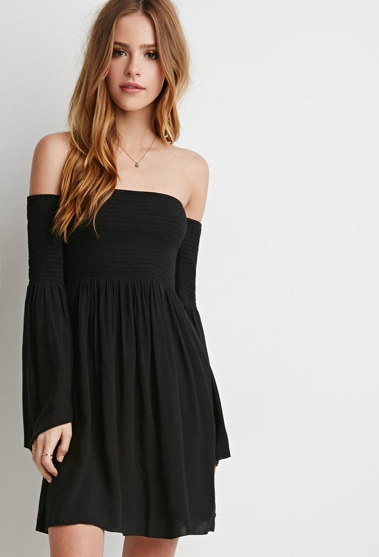 Lyst - Forever 21 Smocked Off-the-shoulder Dress in Black - photo #39