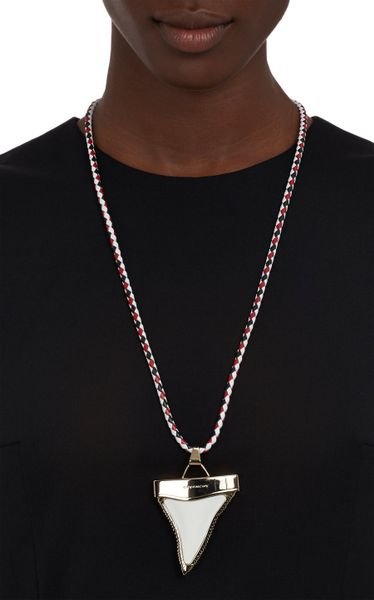 Givenchy Leather Bolotie Necklace With Sharks Tooth