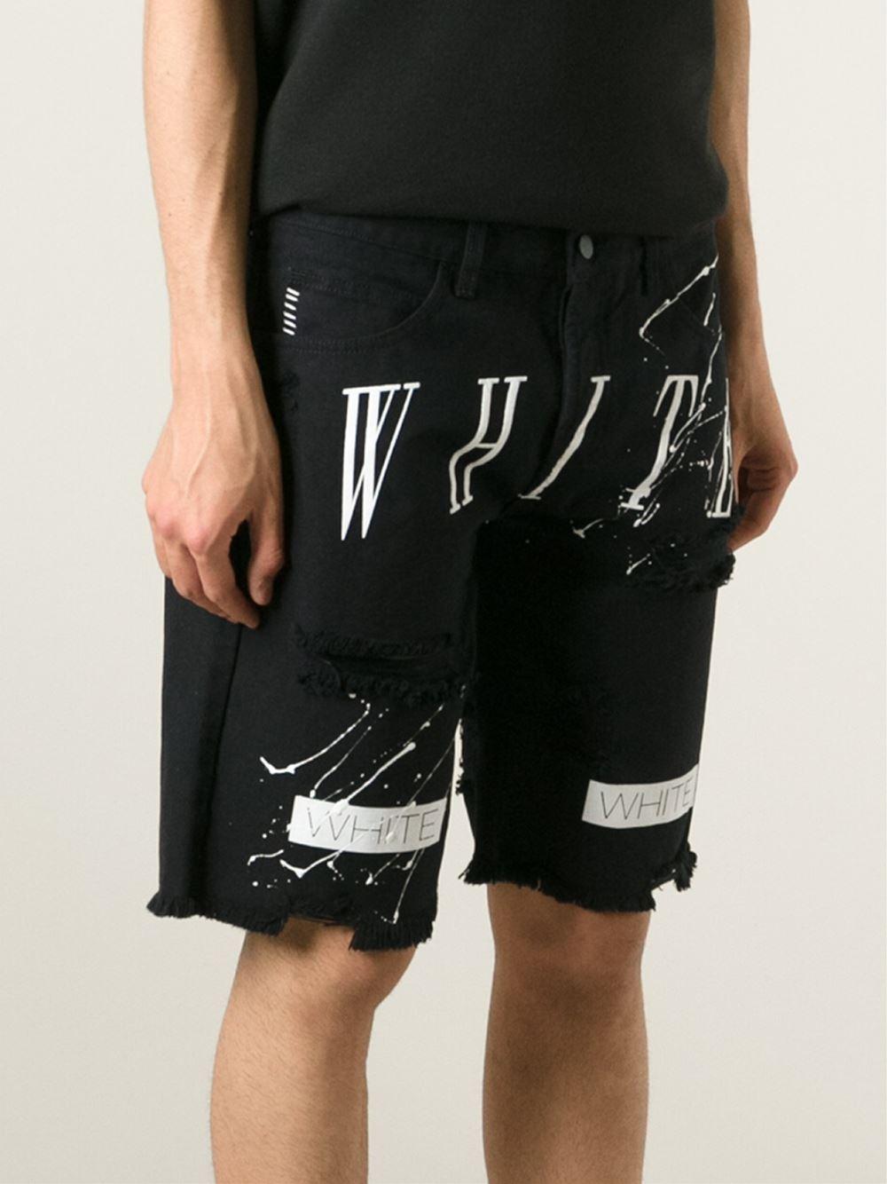 Off-white c/o virgil abloh Printed Denim Boardshorts in Black for ...
