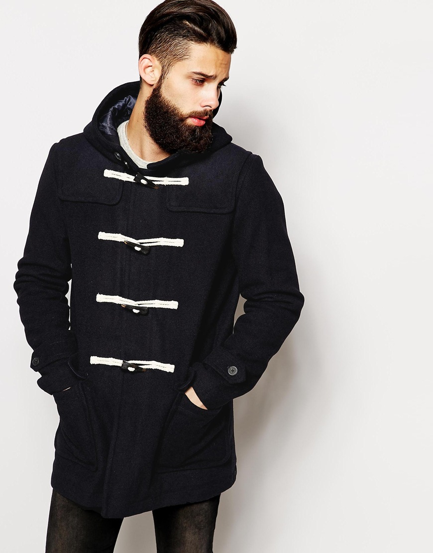 Asos Wool Duffle Coat In Navy in Blue for Men | Lyst