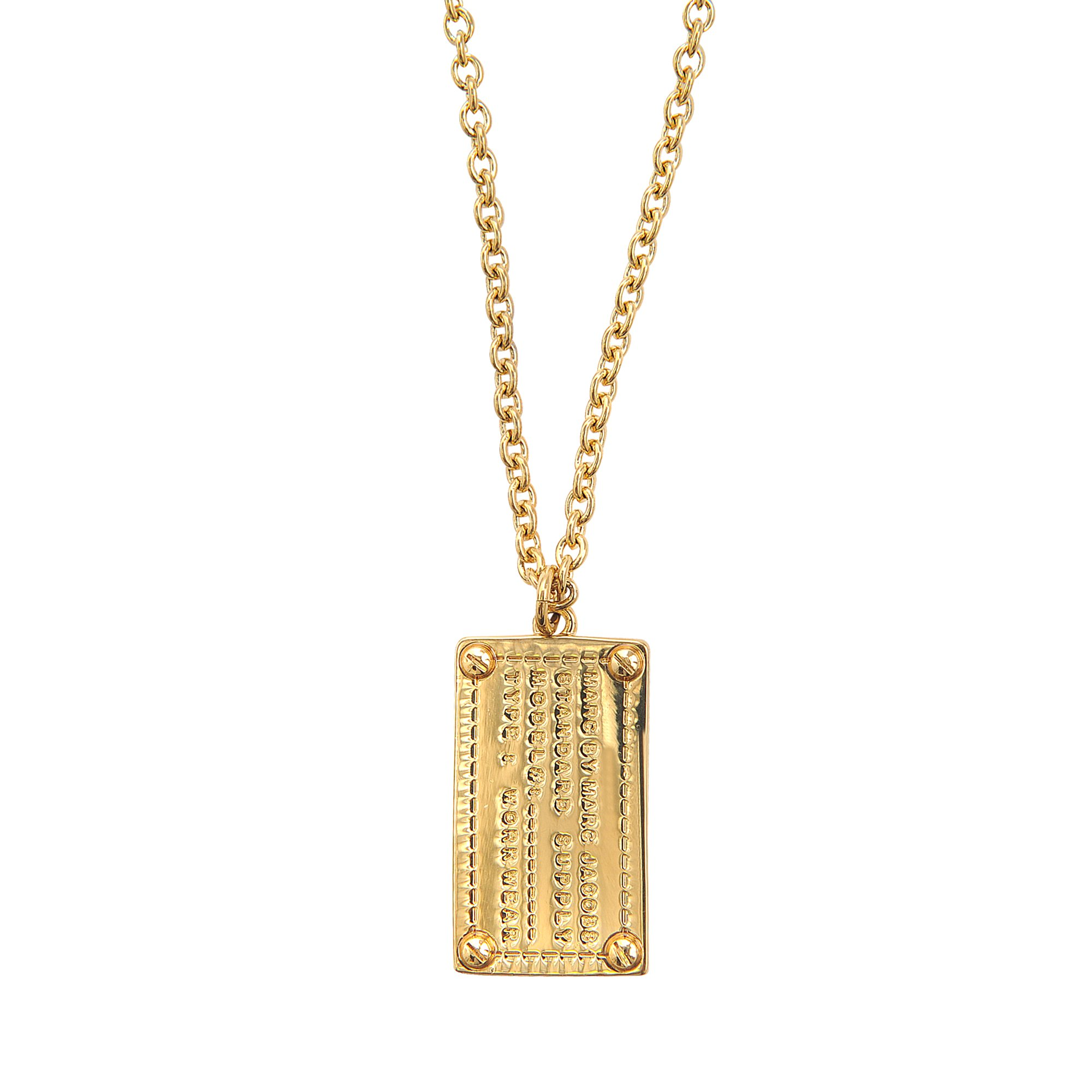 marc by marc jacobs engraved dog tag necklace in gold lyst. Black Bedroom Furniture Sets. Home Design Ideas