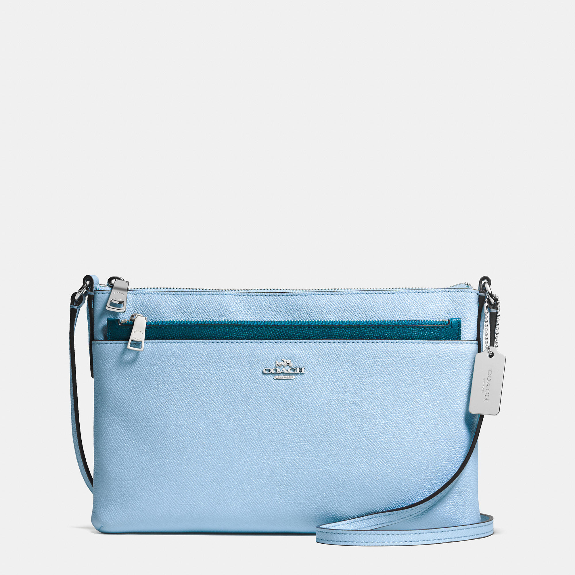 ... canada lyst coach crossbody with pop up pouch in crossgrain leather in  blue 11fb9 42944 c87a4ef2380c3