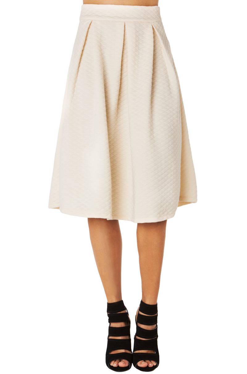 quilted midi skirt in beige lyst