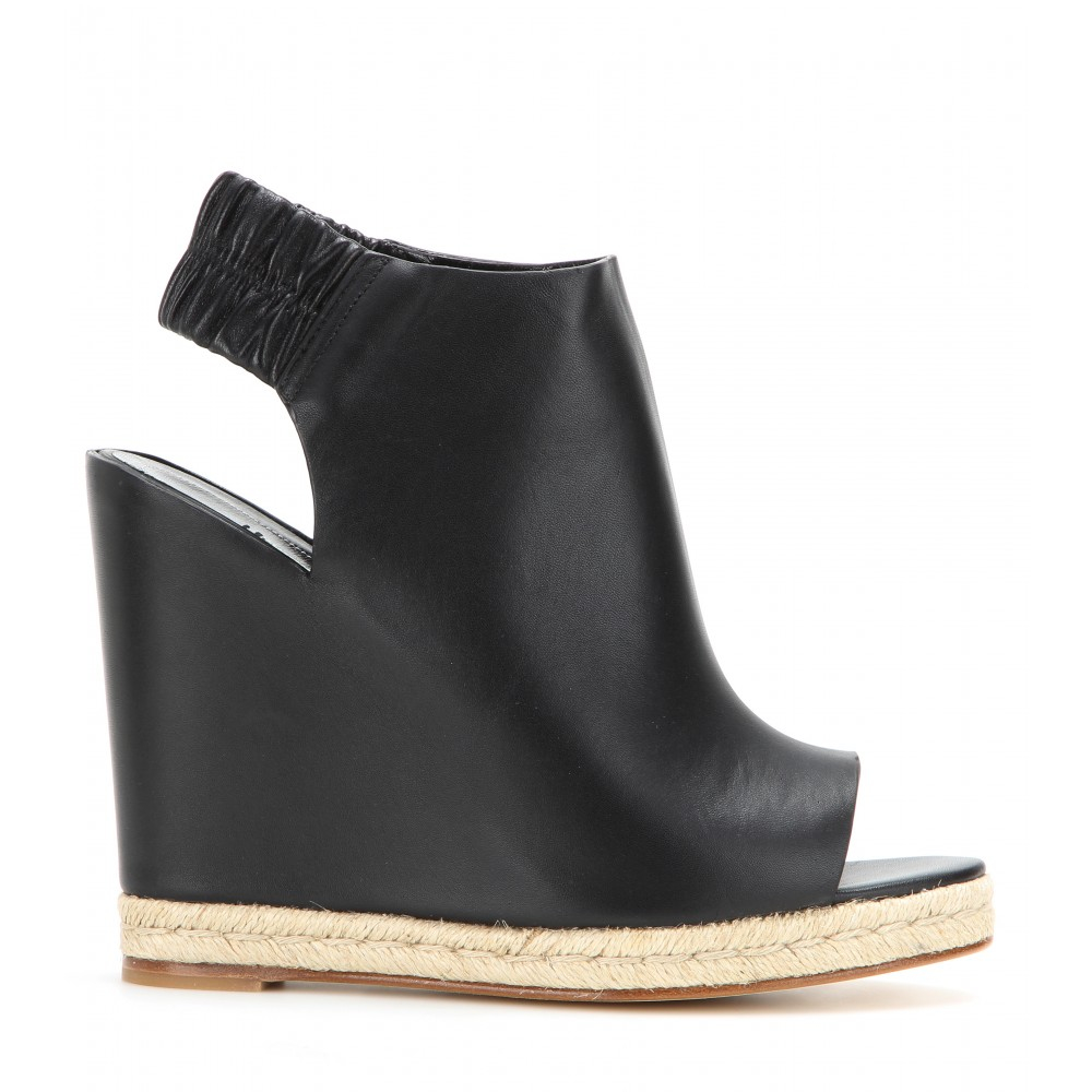 sale sneakernews Balenciaga Leather Peep-Toe Wedges Cheapest for sale huge surprise online low shipping for sale OvwAb